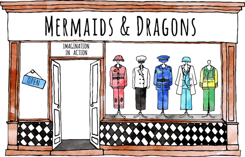 The beautifully illustrated shop front of Mermaids and Dragons costume shop