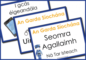 room signs for Garda Síochána dramatic play