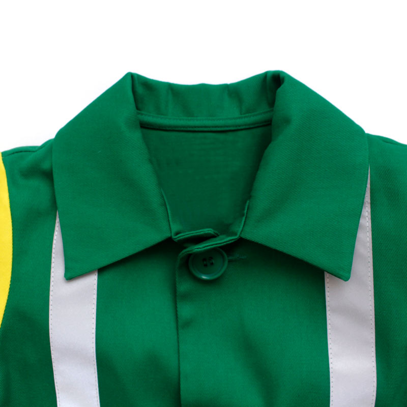 Up close collar detail of a children's paramedic coat with a turn down collar, button and hi vis stripes made in vibrant green and yellow cotton twill