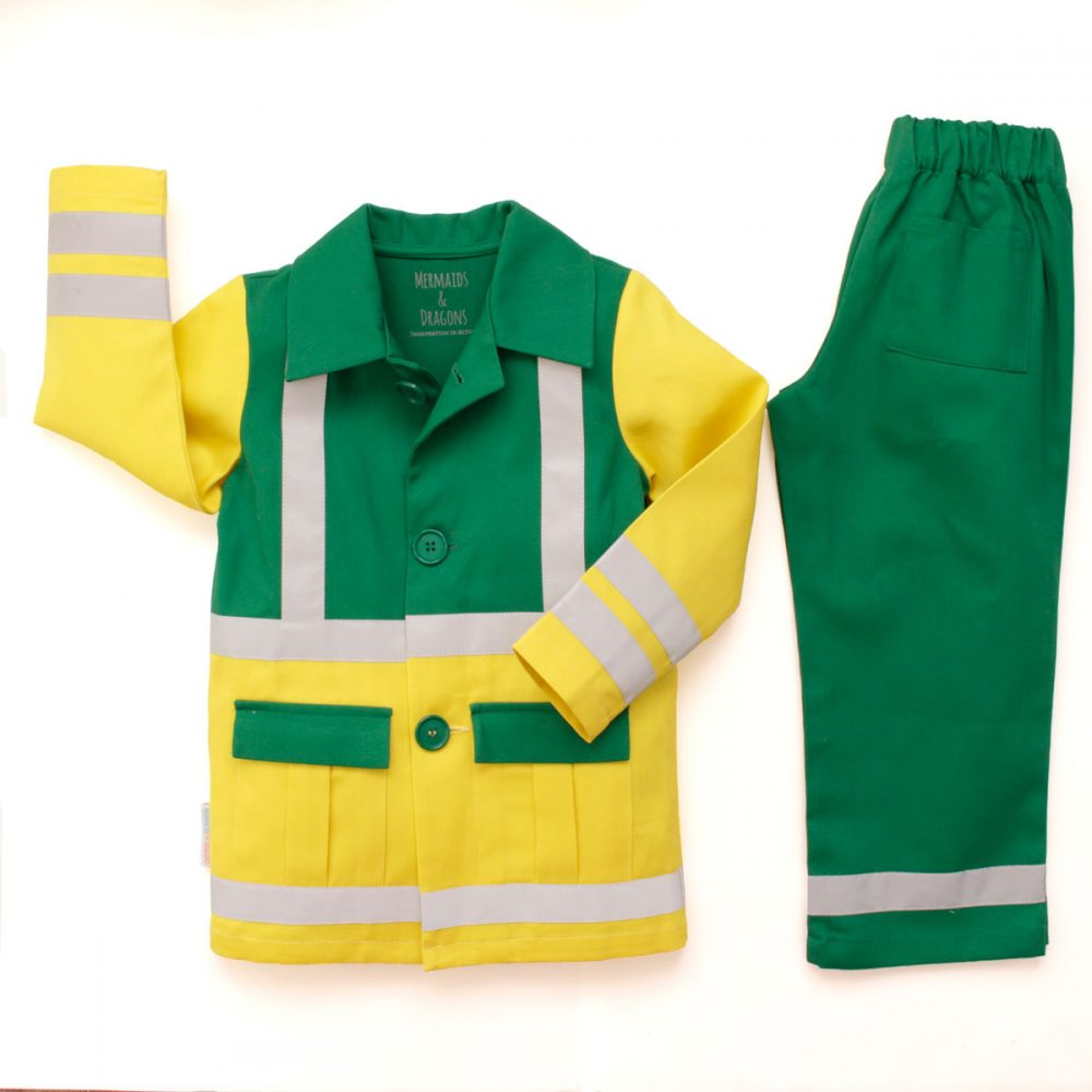 Childrens 2 piece Paramedic uniform in vibrant yellow and green cotton twill including a long coat with 2 front pockets, 3 round buttons, hi vis stripes and trousers with elasticated waist