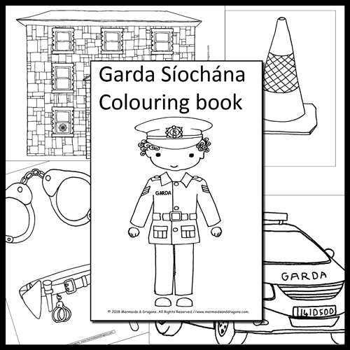 An overview of a Garda Síochána colouring booklet