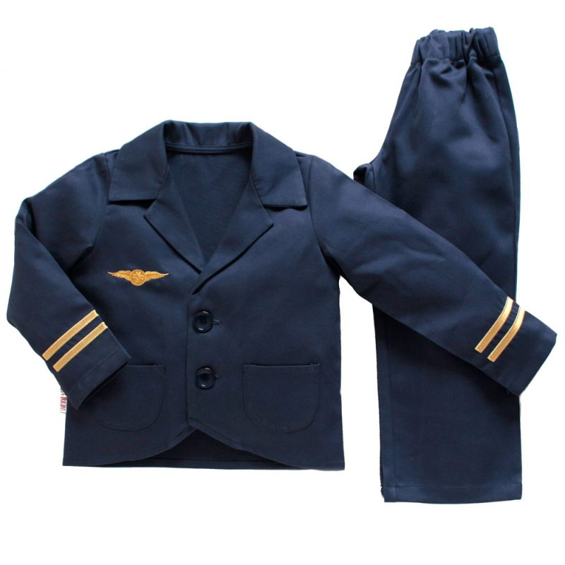 Children's navy pilot uniform with gold embroidered detailing